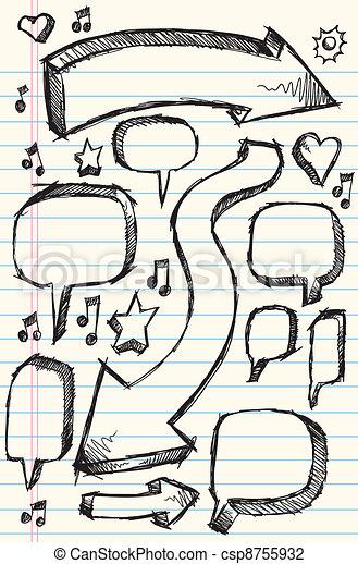 Notebook Doodle Sketch Vector Set - csp8755932