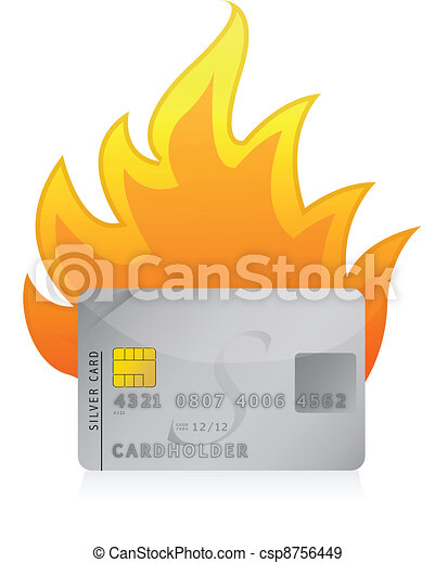 Credit card on fire concept - csp8756449