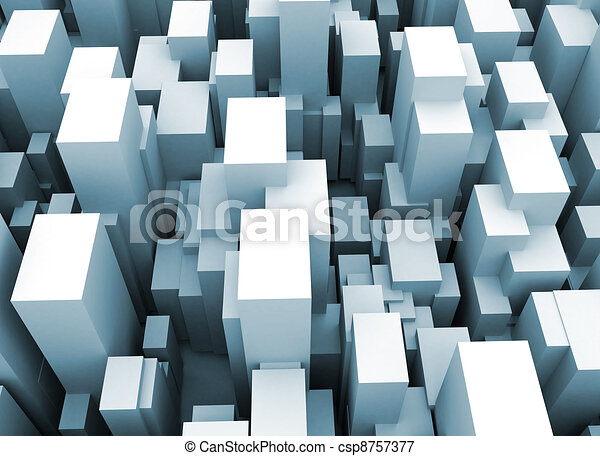 Abstract city scape 3d cubes  - csp8757377