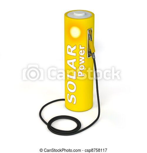 Battery Petrol Station - Solar Power - csp8758117