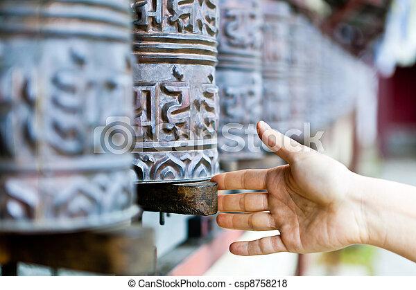 車輪, ネパール, 修道院, 祈とう - csp8758218