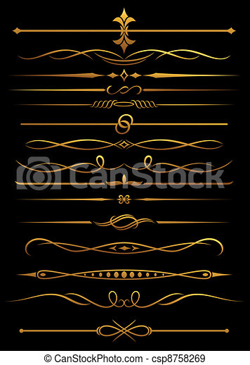 Golden borders and dividers - csp8758269