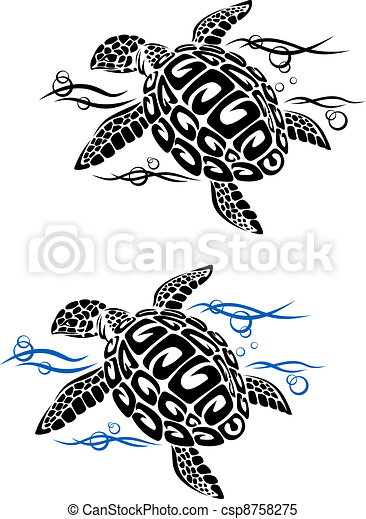 Turtle in sea water - csp8758275