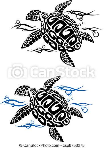 vecteur clipart de tortue eau mer tortue dans mer eau dans dessin csp8758275. Black Bedroom Furniture Sets. Home Design Ideas