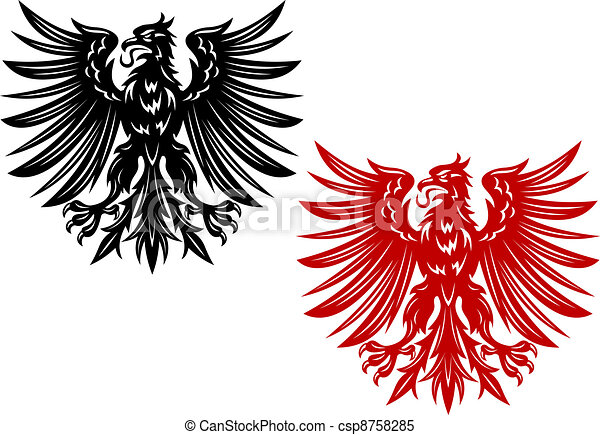 Red and black heraldry eagles - csp8758285