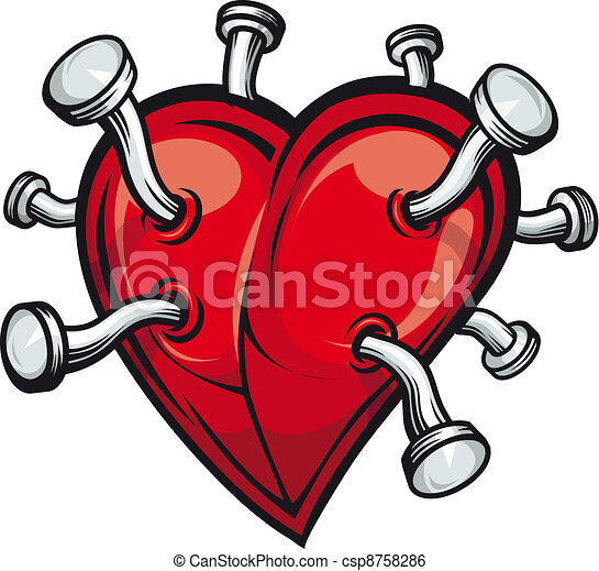 Heart with bent nails - csp8758286