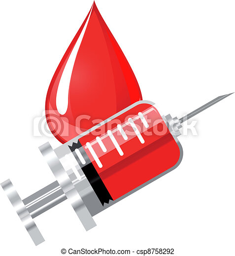 Blood drop and syringe - csp8758292
