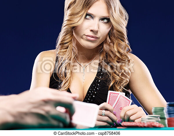 Woman doubt in a card gambling match - csp8758406