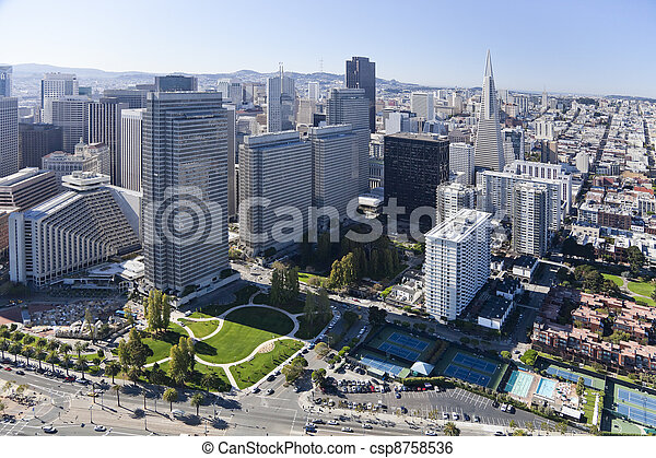 San Francisco Downtown aerial - csp8758536