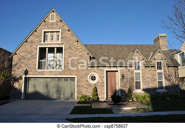 Two story single family house with driveway - csp8758637