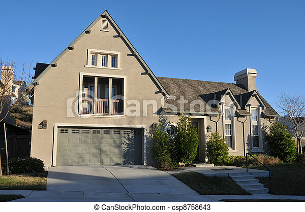 Two story single family house with driveway - csp8758643