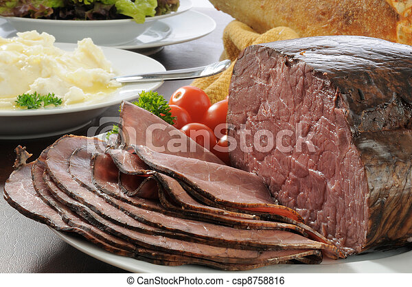 Roast beef dinner - csp8758816