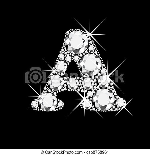 A letter with diamonds bling bling - csp8758961