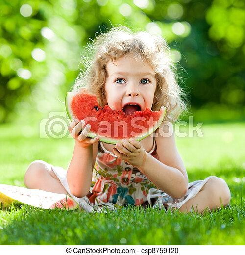 Child having picnic in park - csp8759120