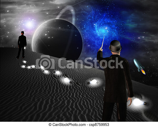 Man points toward galaxy in science fiction scene - csp8759953
