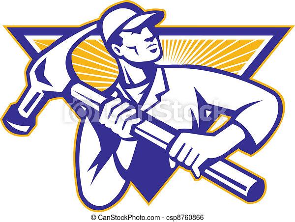 Carpenter With Hammer Retro - csp8760866