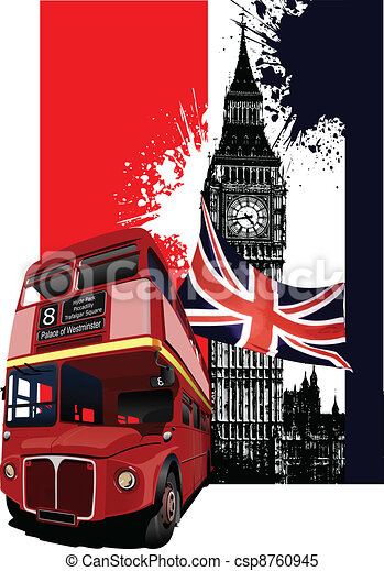 Grunge banner with London and bus  - csp8760945