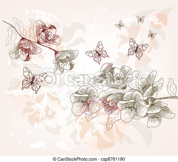 hand drawn spring scenery - csp8761190