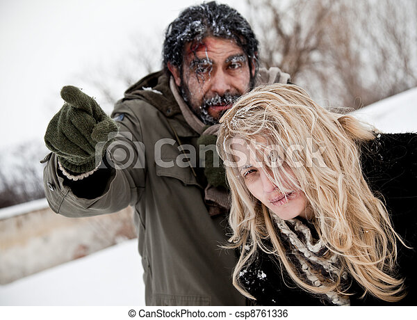 frozen lost couple winter struggle - csp8761336