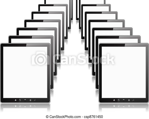 Rows of Tablet PCs - csp8761450