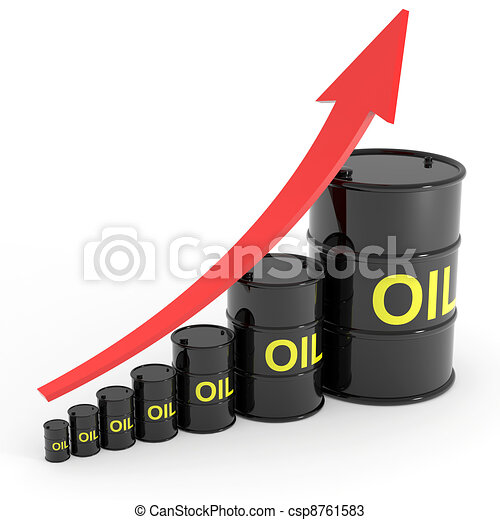 Rising oil barrels graph. - csp8761583