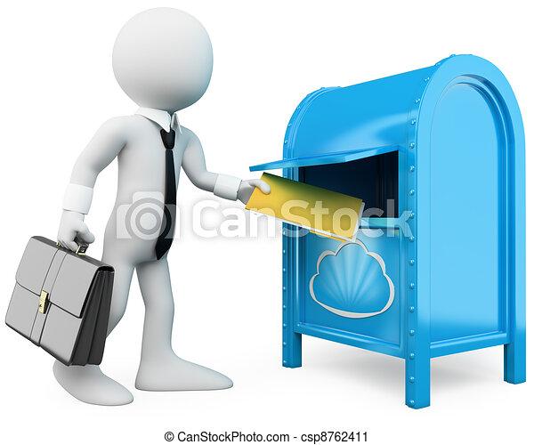 3D businessman sending documents to the cloud - csp8762411