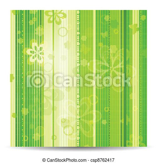 Stripy floral green spring background - csp8762417