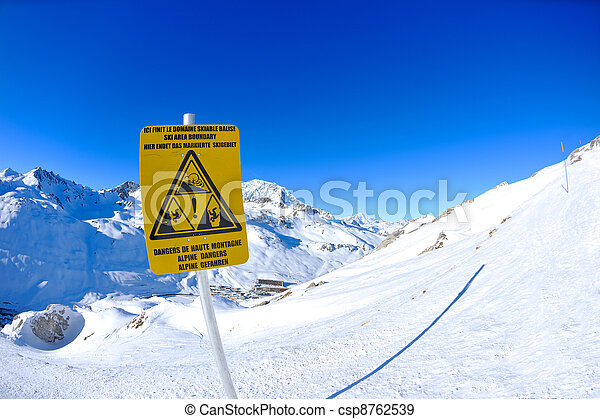 Sign board at High mountains under snow in the winter