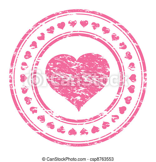 Vector illustrator of a grunge pink rubber stamp with heart  isolated on white background - csp8763553