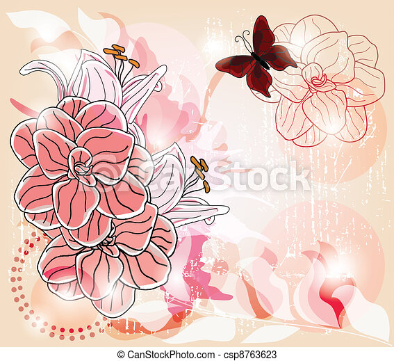 colorful spring postcard - csp8763623