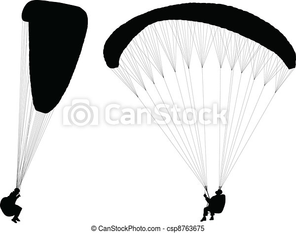 Flying paraglider - csp8763675