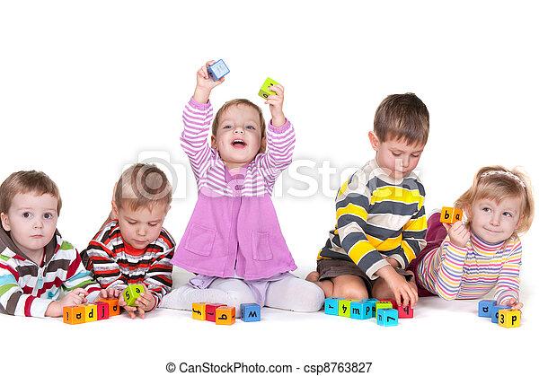 Playing blocks in kindergarten - csp8763827