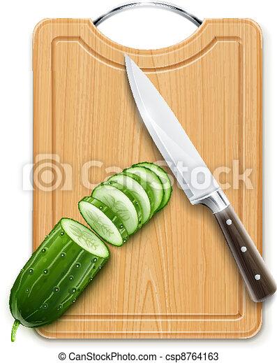 ripe cucumber cut segment on board - csp8764163