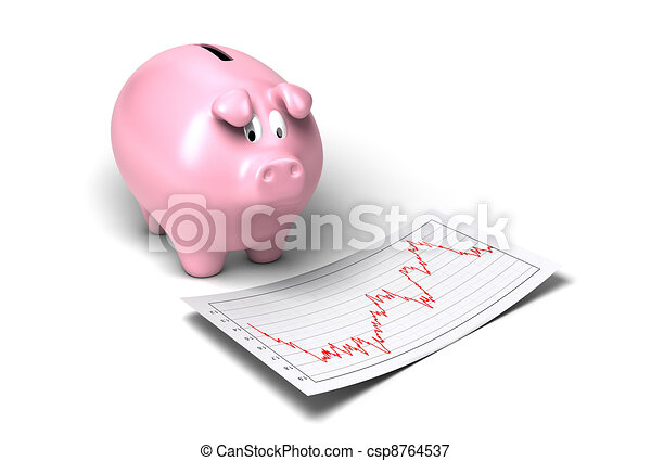 worried piggy bank looking at crash of it's shares onto a sheet of paper white background - csp8764537