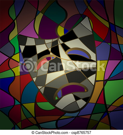 abstract background theatrical mask tragedy - csp8765757
