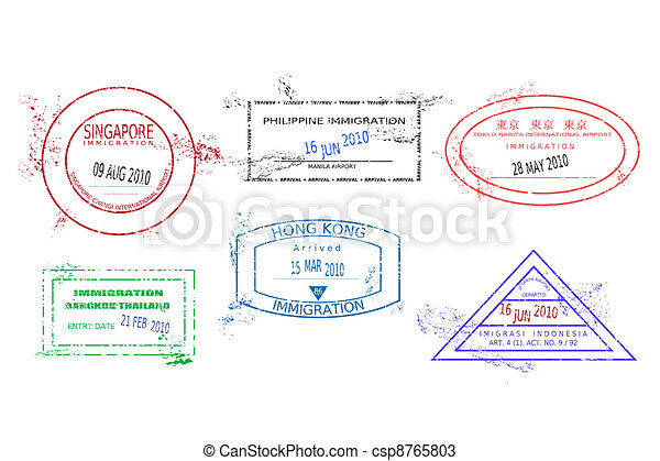 Travel stamps - csp8765803