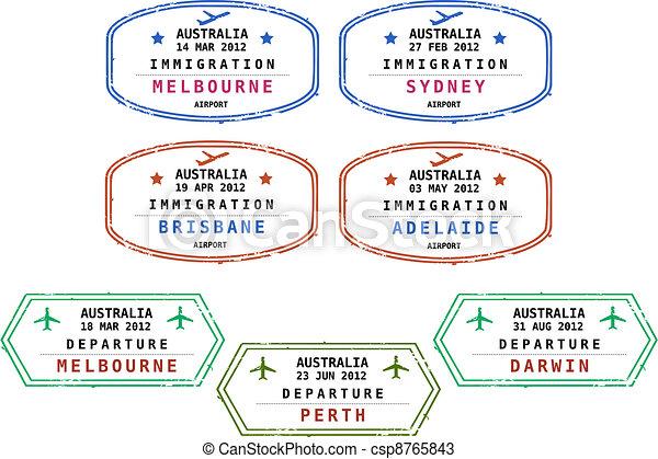 Immigration stamps - Australia - csp8765843