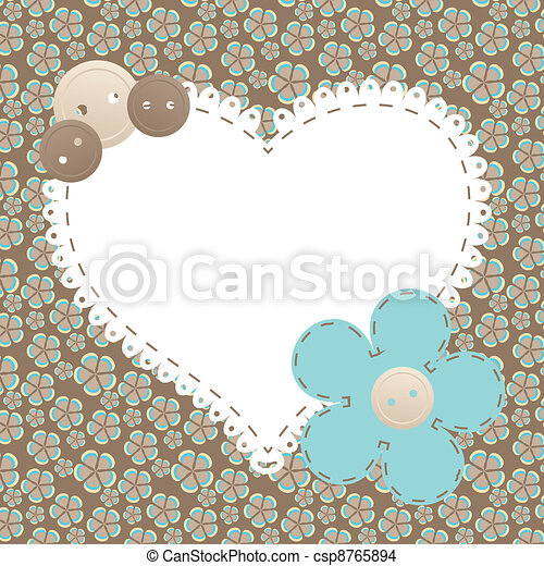 Vector vintage frame with love heart beautiful illustration can be used for scrapbooking - csp8765894