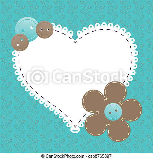 Vector vintage frame with love heart beautiful illustration can be used for scrapbooking - csp8765897