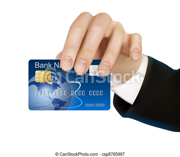 Credit card with chip in hand - csp8765997