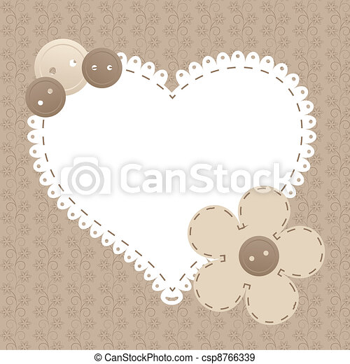 Vector vintage frame with love heart beautiful illustration can be used for scrapbooking - csp8766339