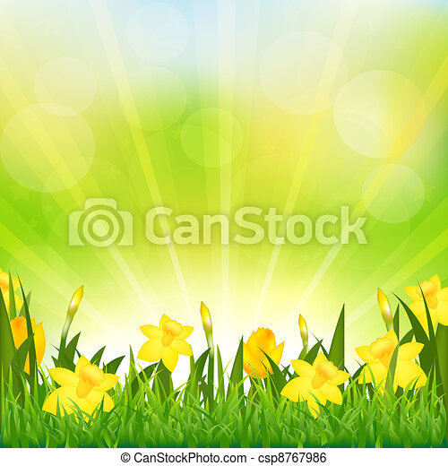 Flowers Easter Background - csp8767986