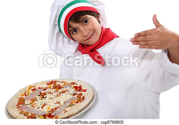 cozinheiro, vestido, criança,  pizza - csp8769605