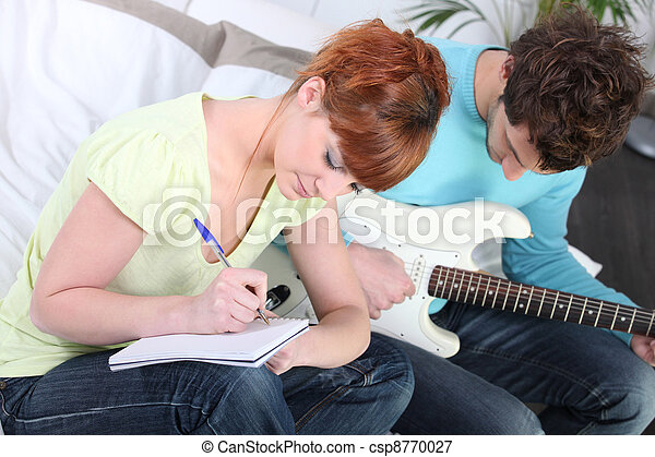 youth writing song - csp8770027