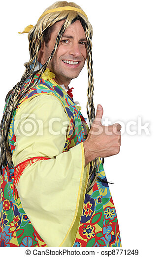 Man dressed as hippie - csp8771249