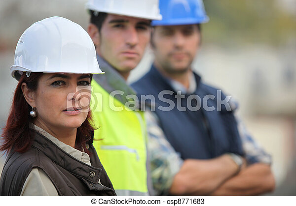 Three construction colleagues - csp8771683