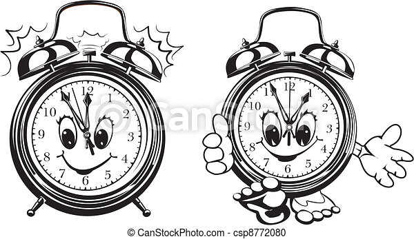 two alarm clocks - black & white - csp8772080