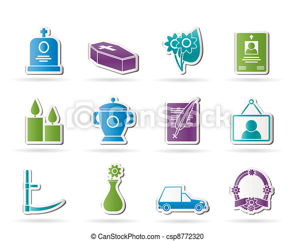 funeral and burial icons - csp8772320