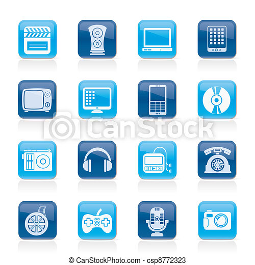 multimedia and technology icons - csp8772323