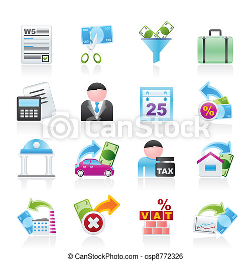 Taxes, business and finance icons  - csp8772326
